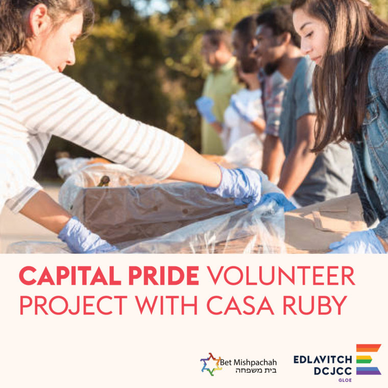 Image is of two white women putting items into a plastic bag. Underneath the image, red text reads: Capital Pride Volunteer Project with Casa Ruby