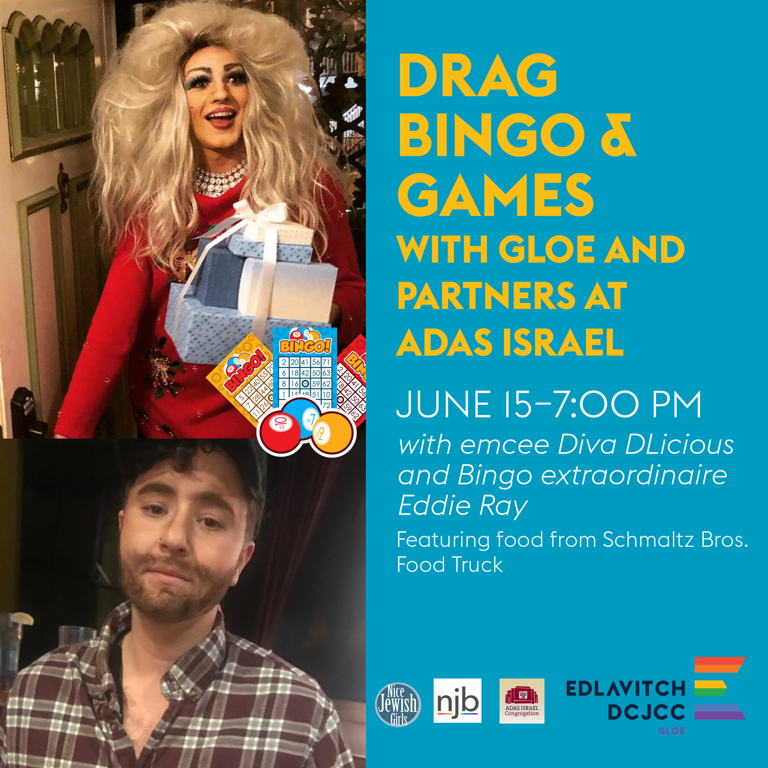 Image is of a drag queen and drag king. Text next to their pictures reads: Drag Bingo & Games with GLOE and partners at Adas Israel