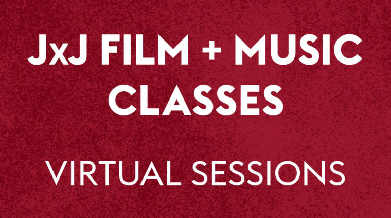 On a red background, white text reads: Film and Music Classes Virtual Sessions
