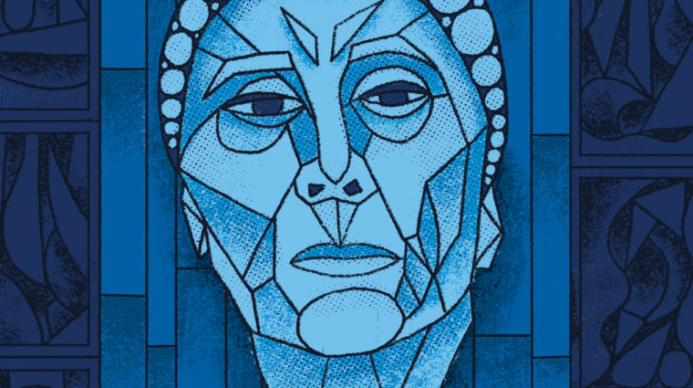 Image is in the style of stained-glass window, with a man's face set against a background in different shades of blue. The text reads Edward Albee's Occupant