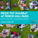 Image is of people eating on the grass. Overlaid text reads: Pride Tot Shabbat at Kalorama Park