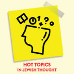 Image is an illustration of a head with symbols of knowledge like a book and numbers, drawn in thick black ink on a yellow background. Underneath the illustration, red letters spell out Hot Topics in Jewish Thought