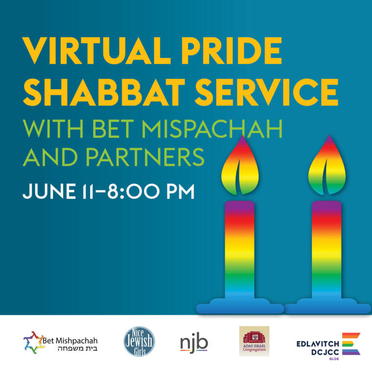 Image is of two rainbow Shabbat candles on a blue background. Yellow text reads: Virtual Pride Shabbat Service