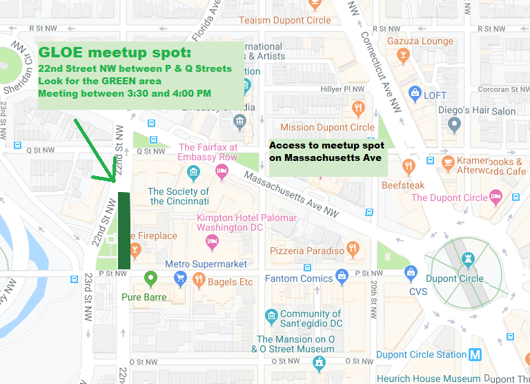map of where the GLOE group will meet for the Pride parade: 22nd Street NW between P and Q Streets